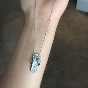Jewelry - Light blue sterling silver flip flop necklace 16in